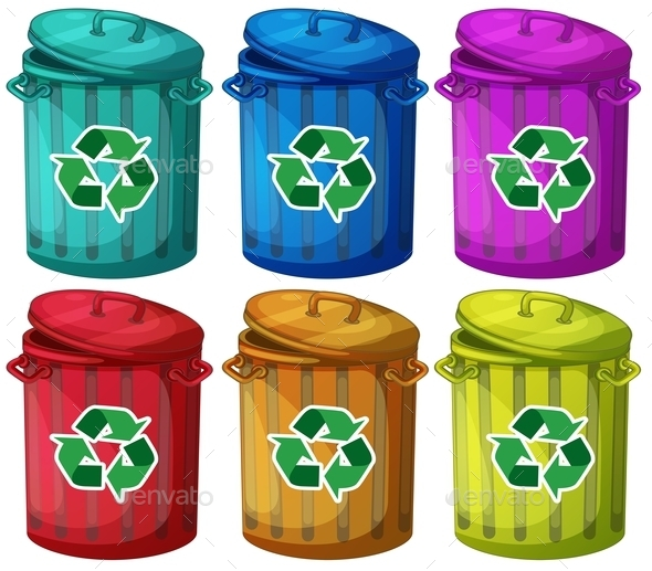 GraphicRiver Six Trashcans for Recyclable Garbages 9515403