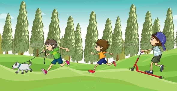 GraphicRiver Children running with a Dog 9515609