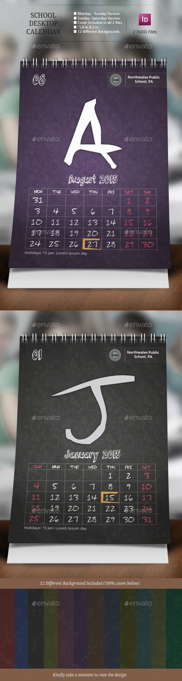 GraphicRiver School Desk Calendar Templates 9432071