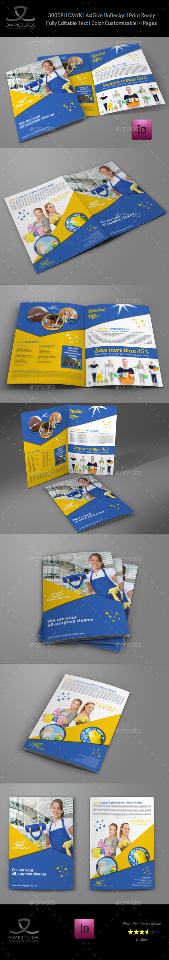 GraphicRiver Cleaning Services Company Bi-Fold Brochure 9515974