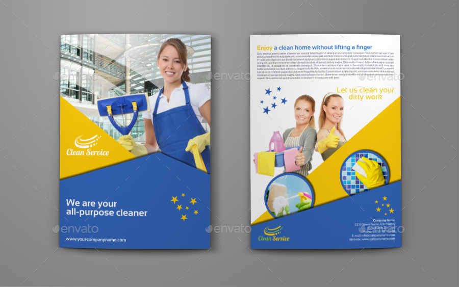 cleaning services company bi fold brochure by owpictures graphicriver. Black Bedroom Furniture Sets. Home Design Ideas
