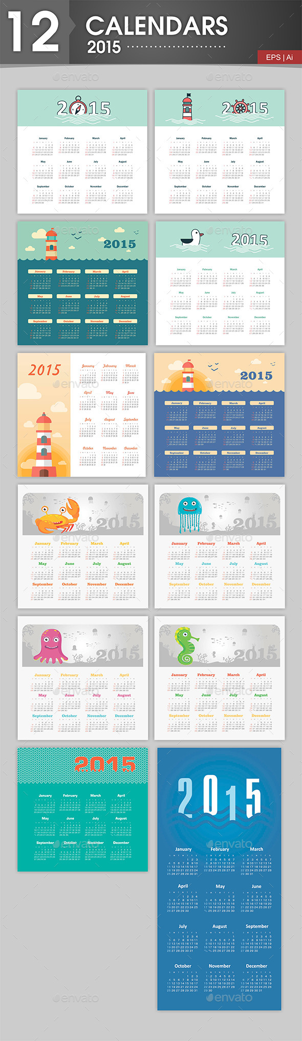 GraphicRiver 12 Calendars 2015 Marine Theme 9516005