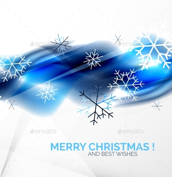 GraphicRiver Blue Christmas Blurred Waves and Snowflakes 9516157