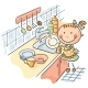 Girl Washing the Dishes - GraphicRiver Item for Sale