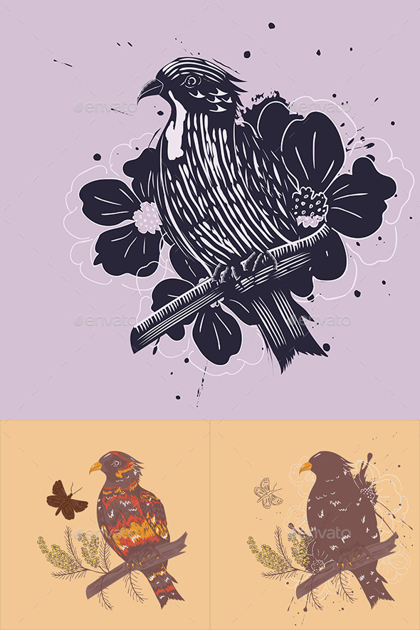 GraphicRiver Bird with Flowers 9516579