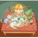 Girl Drawing a Picture - GraphicRiver Item for Sale