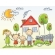 Family near House - GraphicRiver Item for Sale