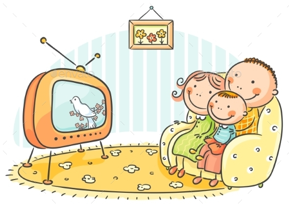 GraphicRiver Family watching TV Together 9516645