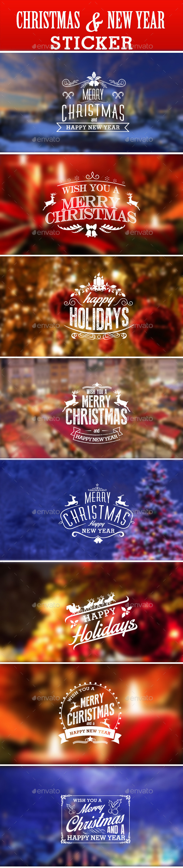 GraphicRiver Christmas & New Year Sticker 9457587