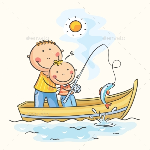 GraphicRiver Father and Son in the Boat 9516668