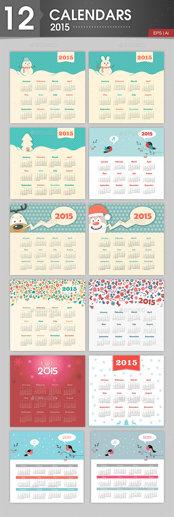 GraphicRiver 12 Calendars 2015 With a Christmas Theme 9516767