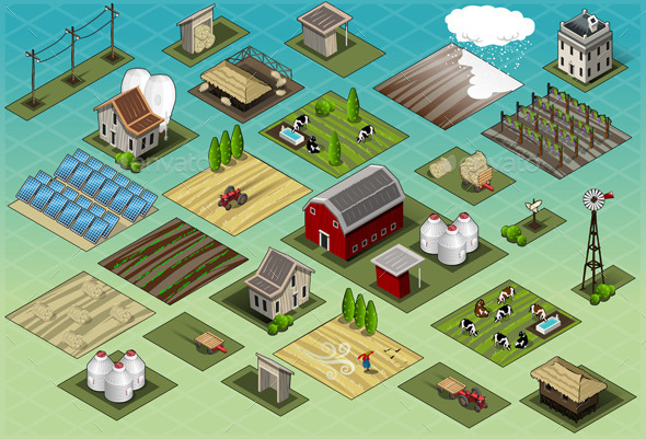 GraphicRiver Isometric Farm Set Tiles 9516811