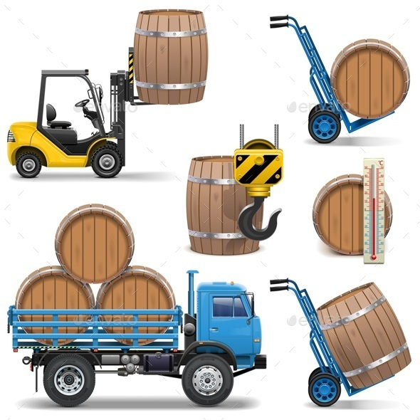 GraphicRiver Vector Barrels Shipping Icons 9517292