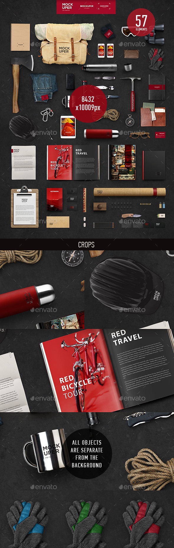 GraphicRiver Travel Brutal Branding Mock-Up PSD 9517348