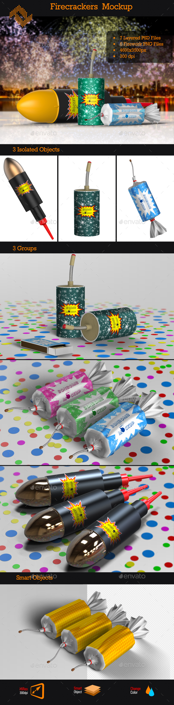 GraphicRiver Firecrackers Fireworks Mockup 9517632