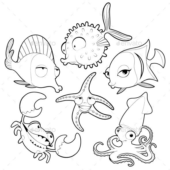 GraphicRiver Sea Animals in Black and White 9517876