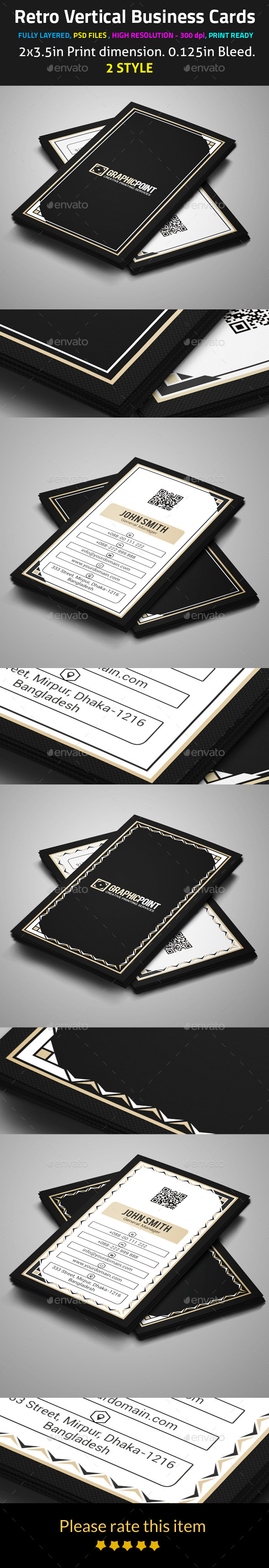 GraphicRiver Retro Vertical Business Cards 9517879