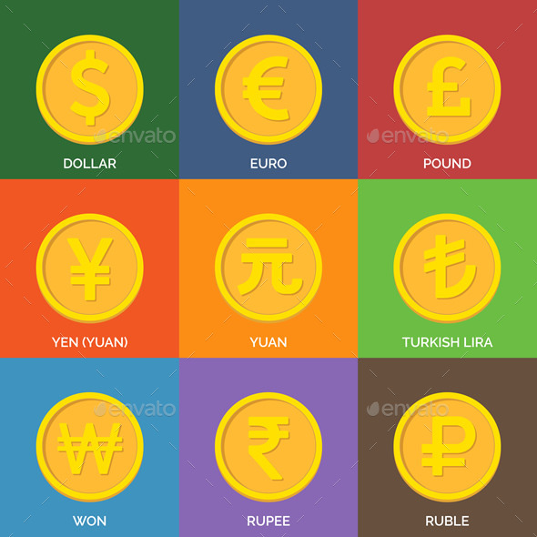 GraphicRiver Flat Golden Coins Currency Icons 9518181