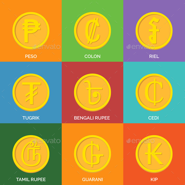 GraphicRiver Flat Golden Coins Currency Icons 9518314