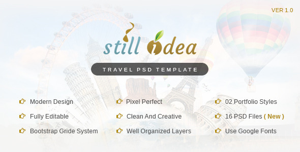 Stillidea - Travel, Clean PSD Template