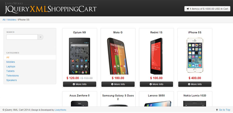 JQuery XML Shopping Cart