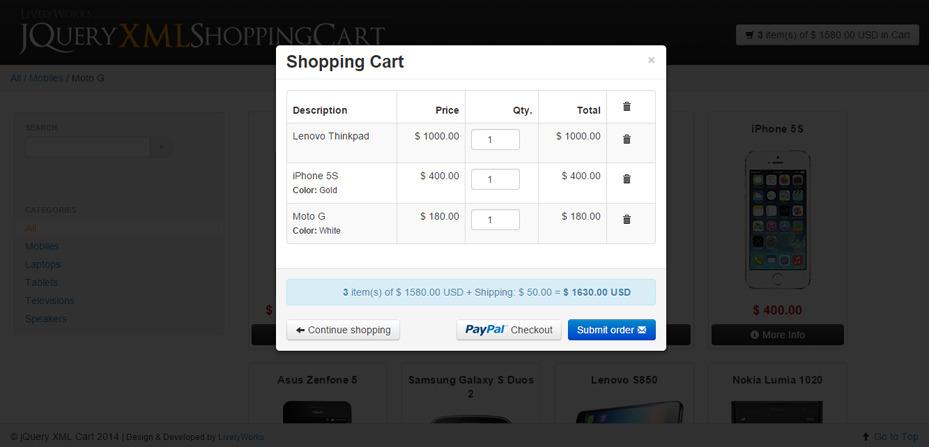 JQuery XML Store Shop - Shopping Cart