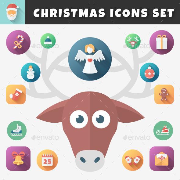 GraphicRiver Christmas Flat Icons Set 9518753