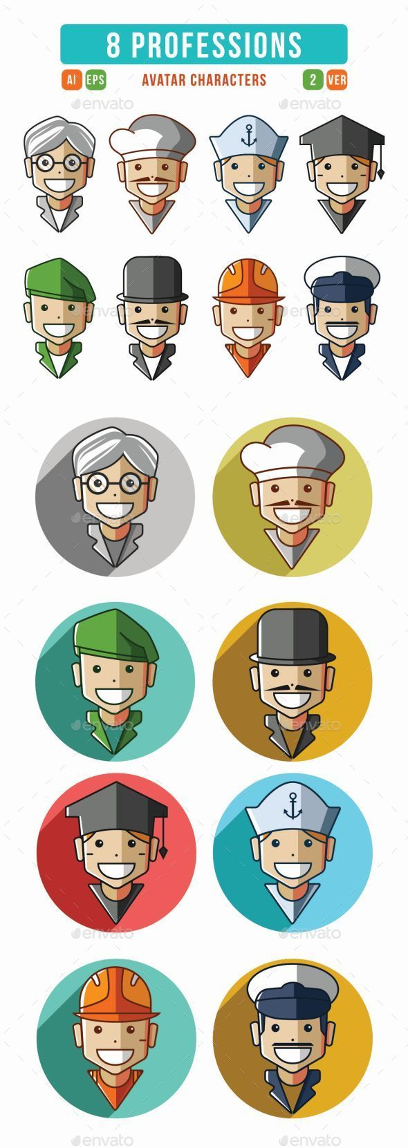 GraphicRiver Profession Characters Icons Set 9519223