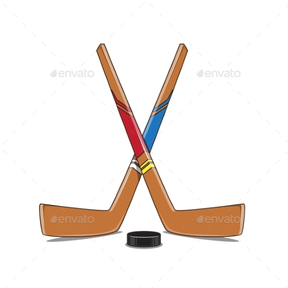 GraphicRiver Crossed Hockey Sticks and Puck 9519297