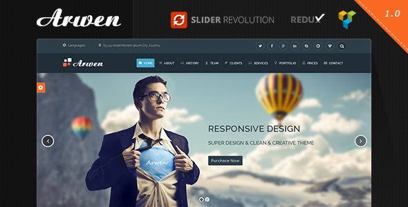 ThemeForest Arwen One Page Parallax WordPress Theme 9102502