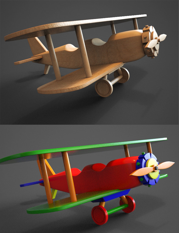 Wooden Biplane Toy - 3DOcean Item for Sale
