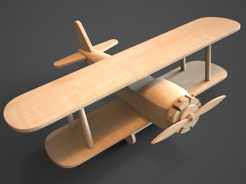 Wooden Biplane Toy By Teddpermana 3docean