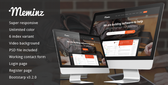 ThemeForest Meminz download software landing page 9450530