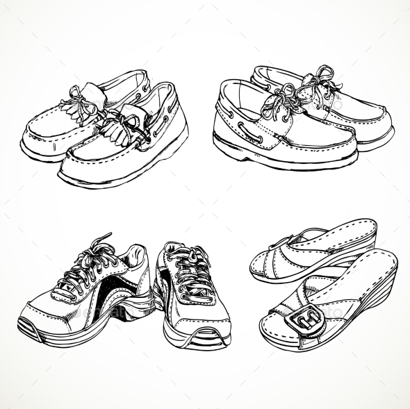 GraphicRiver Sketch of Shoes for Men and Women 9519846