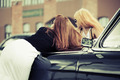 Two young fashion women at the retro car - PhotoDune Item for Sale