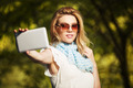 Young fashion woman taking a selfie with tablet computer - PhotoDune Item for Sale
