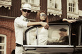 Young fashion couple at the retro car - PhotoDune Item for Sale