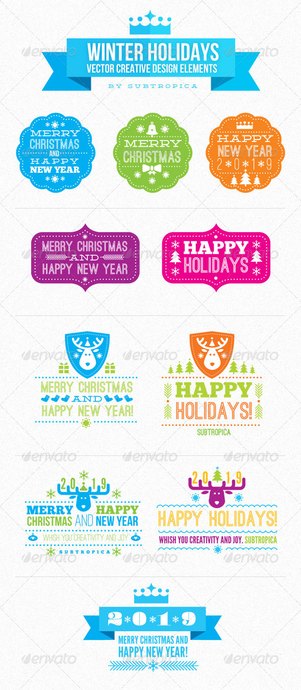 Winter Holidays Vector Creative Design Elements - New Year Seasons/Holidays