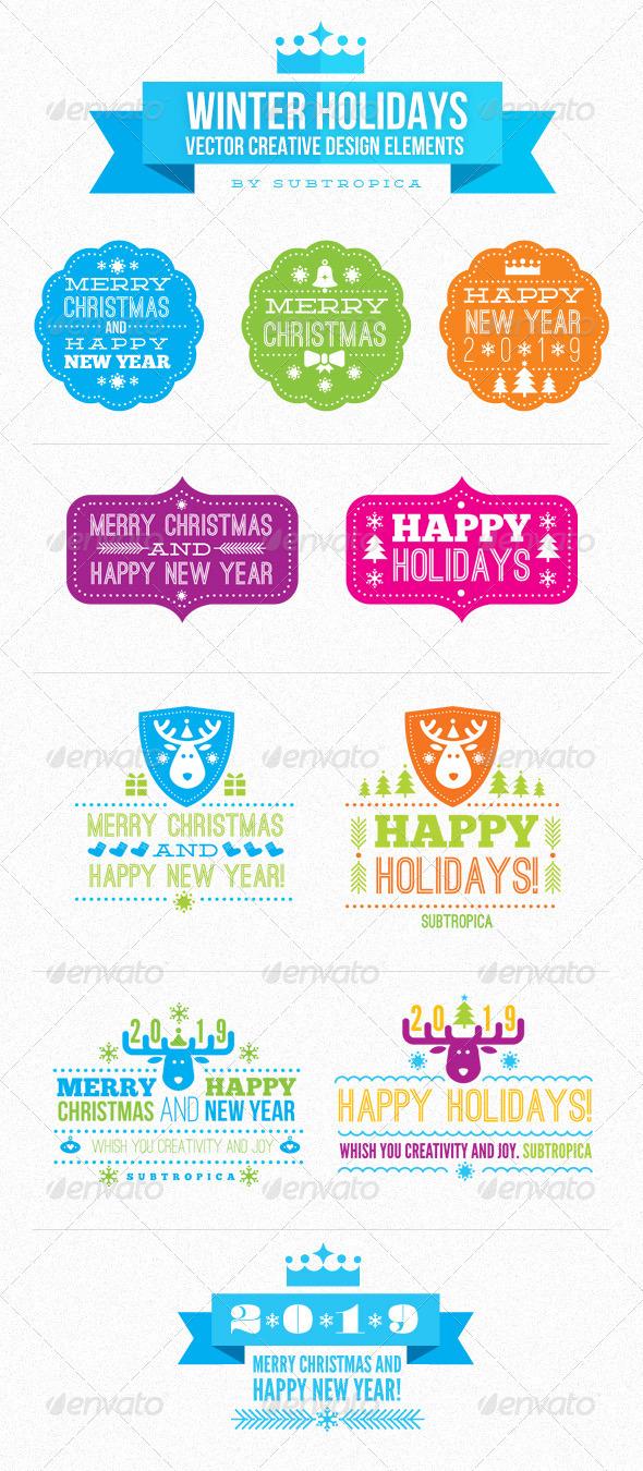 Winter Holidays Vector Creative Design Elements - New Year Seasons/Holidays