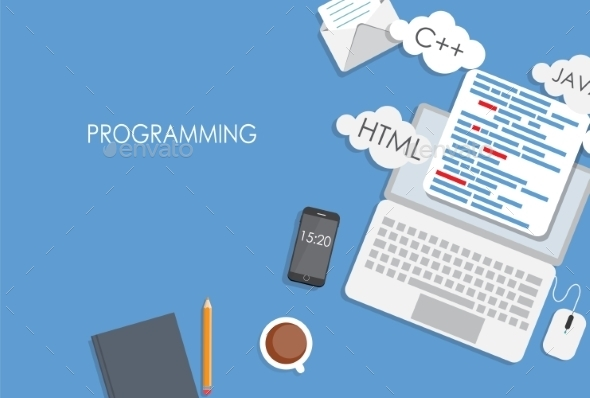 GraphicRiver Programming Coding Flat Concept 9520749