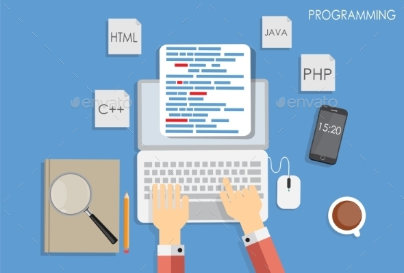 GraphicRiver Programming Coding Flat Concept 9520763