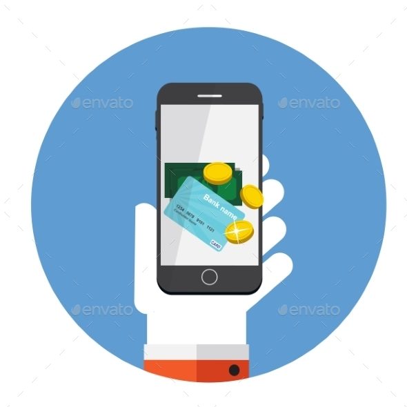 GraphicRiver Mobile Payment Flat Concept Vector Illustration 9520765