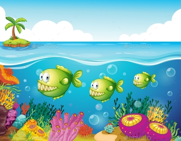 GraphicRiver Three Green Piranhas Under the Sea 9520883
