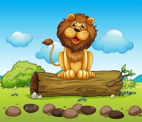 GraphicRiver Happy Lion on a Trunk of a Tree 9520950