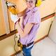 Female carpenter  at work using hand drilling machine - PhotoDune Item for Sale