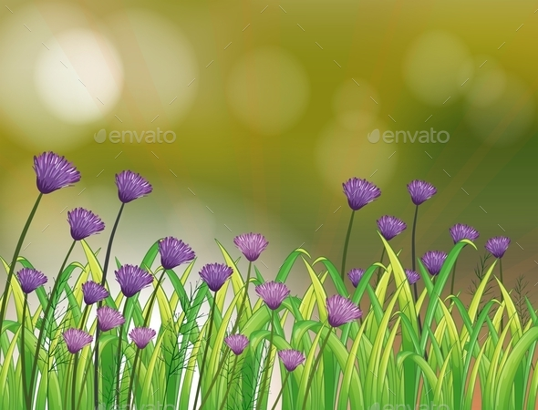 GraphicRiver Stationery with a Garden of Violet Flowers 9521069
