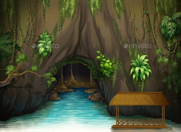 GraphicRiver Cave of Water and a Wooden Shade 9521212
