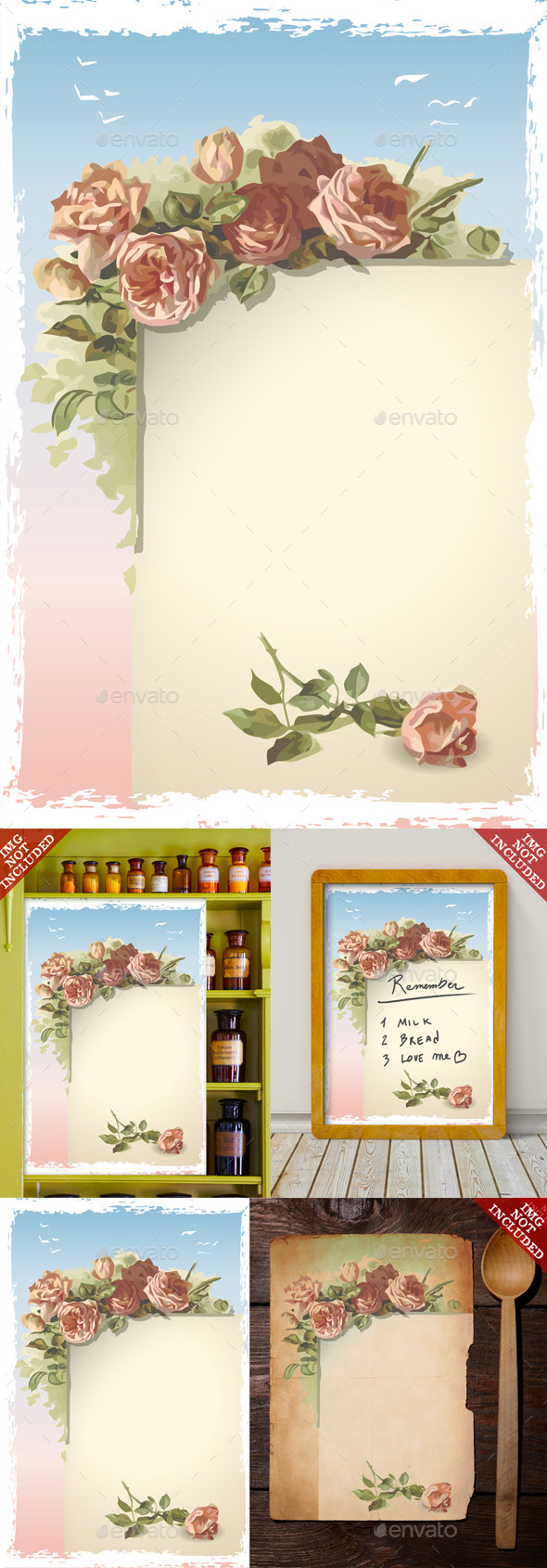 GraphicRiver Vintage Roses Ornament on Old Page with Blue Sky 9521227