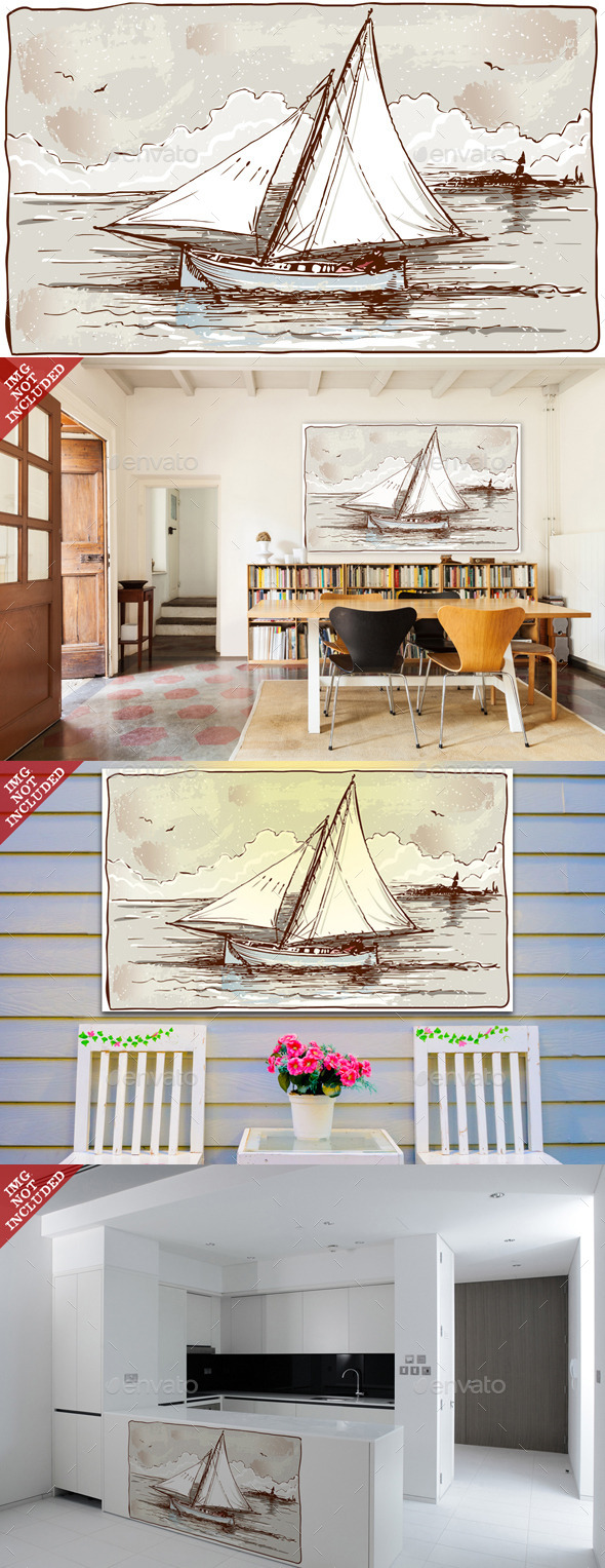 GraphicRiver Vintage View of Sailing Ships on the Sea 9521258