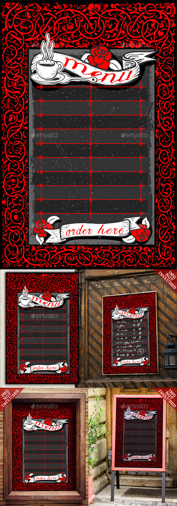 GraphicRiver Vintage Dark Menu with Red Roses and Banners 9521268